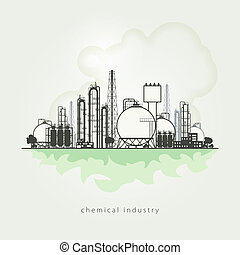Illustration of a chemical plant or refinery processing of...
