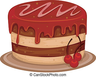 Cherry Cake - Illustration of a Cherry Cake with Syrup on...
