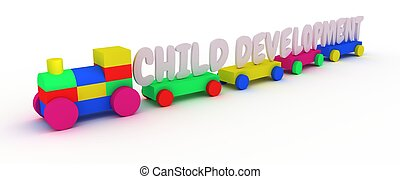 Child Development - Illustration of a child's toy train with...