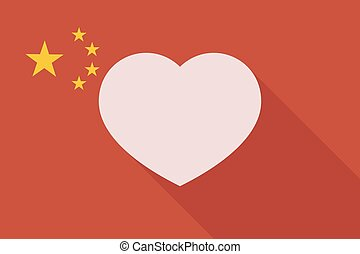 China long shadow flag with a heart