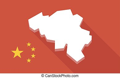 China long shadow flag with the map of Belgium