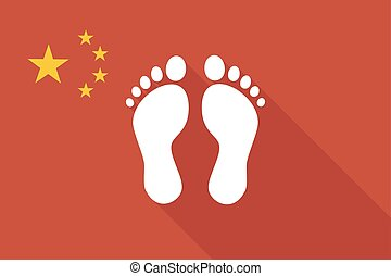 China long shadow flag with two footprints