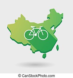 China map icon with a bicycle