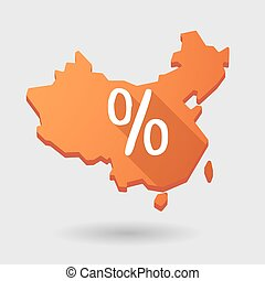 China map icon with a discount sign