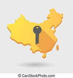 China map icon with a key