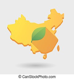 China map icon with a leaf