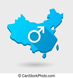 China map icon with a male sign