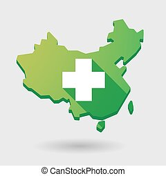 China map icon with a pharmacy sign
