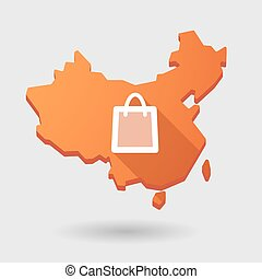 China map icon with a shopping bag