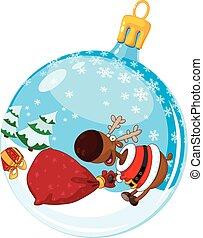 christmas ball with deer and a bag