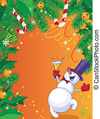 Christmas card and snowman