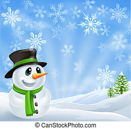 Christmas Snowman Scene - Illustration of a Christmas...