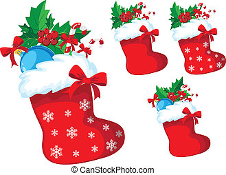 christmas stocking with holly set