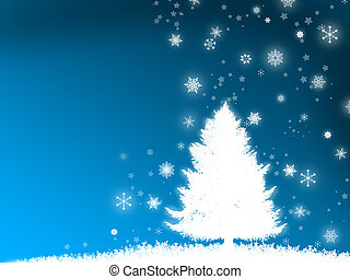 illustration of a Christmas tree in the snow on a blue background