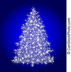 illustration of a christmas tree on blue