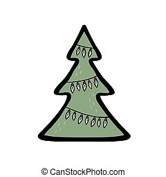 Illustration of a christmas tree with lamp garland