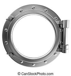Illustration of a chrome ship porthole on a white background