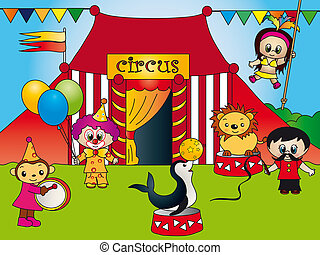 circus - Illustration of a circus with tent and various...