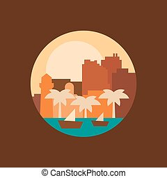 Illustration of a city in the eastern countries, vector