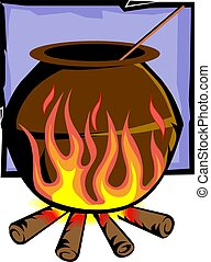 clay pot on fire - Illustration of a clay pot on fire