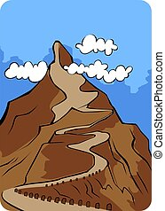 Illustration of a cliff of high mountain with path and sky background