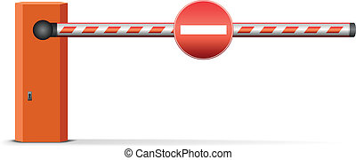 car barrier - illustration of a closed car barrier with sign