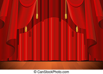 closed red stage curtain - illustration of a closed red ...