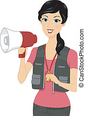 Coach - Illustration of a Coach Holding a Megaphone