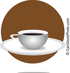 Illustration of a coffee cup with brown circle background
