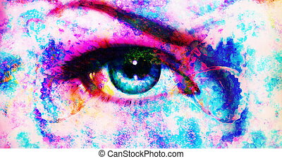 illustration of a color butterflies and woman eye, mixed medium, abstract color background