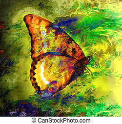illustration of a color butterfly, mixed medium, abstract color background