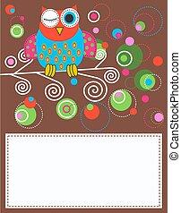 owl - illustration of a colorful fantasy owl