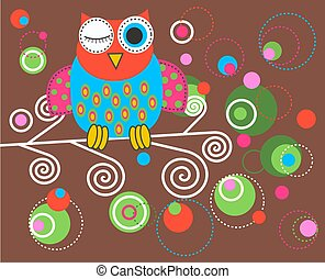 illustration of a colorful fantasy owl