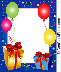 party background with balloons and presents