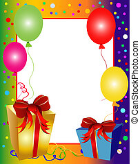 colorful party background with balloons and presents