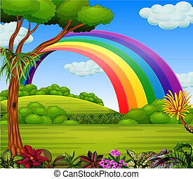 A colorfull rainbow with the garden view