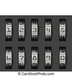 illustration of a combination lock with different numbers, eps 8 vector