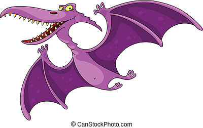 pterodactyl - illustration of a comic pterodactyl