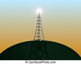 Illustration of a communication transmitter on top of a hill