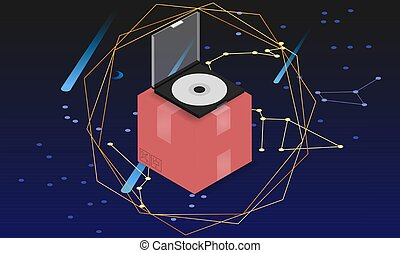 illustration of a compact disc on the box on digital art background