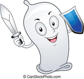 Condom Wielding a Sword - Illustration of a Condom Wielding...
