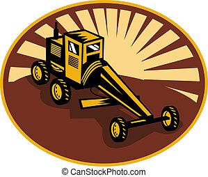 Construction road , blade or motor grader with sunburst in ...