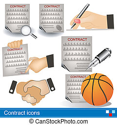 contract icons - Illustration of a contract icons