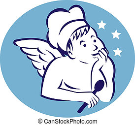 cook,baker or chef child angel holding a spoon and thinking...