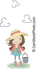 Country Girl - Illustration of a Country Girl Carrying a...