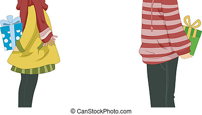 Illustration of a Couple About to Exchange Gifts