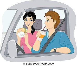Drive Thru - Illustration of a Couple Eating Fast Food at a...