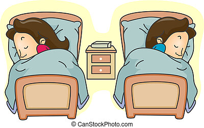 Separate Beds - Illustration of a Couple Lying in Separate...