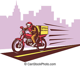 illustration of a Courier delivery person riding motorbike done in woodcut style