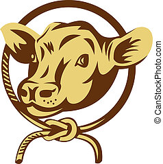Cow mascot with tied square knot rope - illustration of a ...